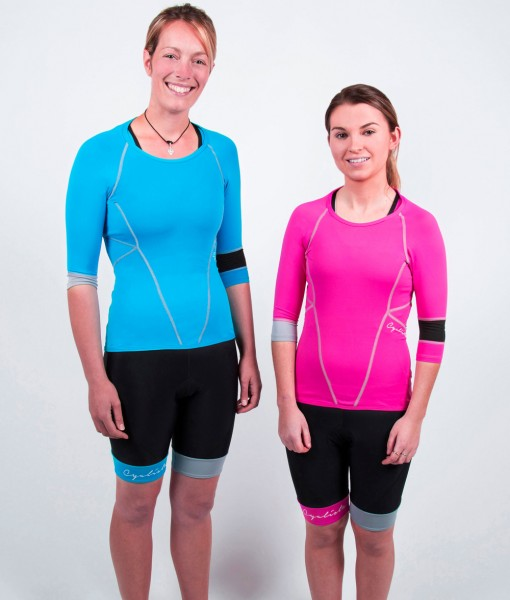 Cyclista café blue and pink jerseys