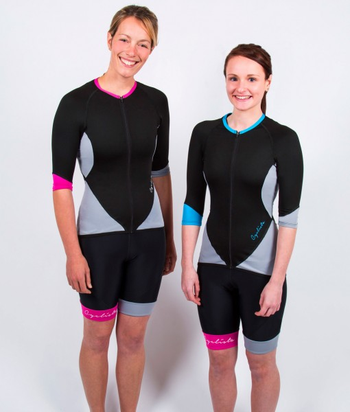 Cyclista race blue and pink jersyes